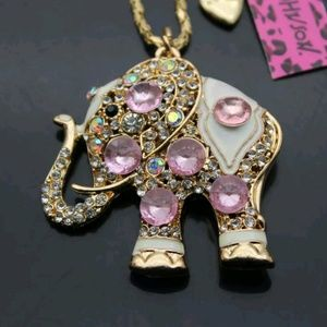 BJ PINK CRYSTAL ELEPHANT PENDANT NECKLACE